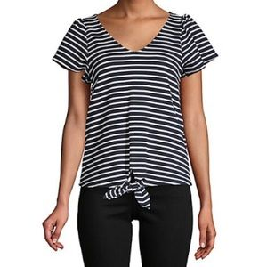 Design Lab Tie Front Striped Top NWT XS